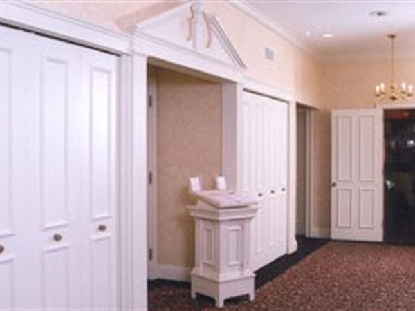 Our Entry Hall features features large spacious closets to hold coats for family and visitors.  You will be greeted by one of our receptionists and directed to the visitation room where your family or friends are gathering.