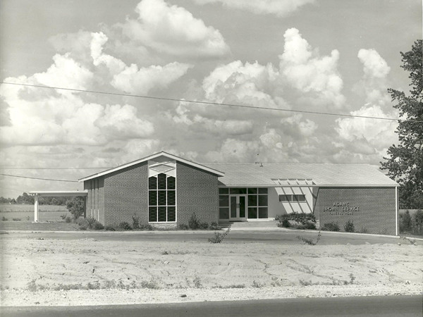Present Adams Brown Service Funeral Home as it appeared at opening in 1959, prior to renovations.