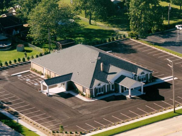 Grand opening aerial shot of the Funeral Home