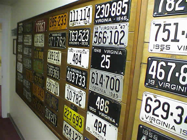 "Horne's has one of only a few complete sets of Virginia State Licenses Plates.  This was started by Richards Grandfather and Brian's Great-Grandfather, and has been continued since he passed away in the mid 70's.  First by Hubert, then by Richard, now by Brian.   ""THIS HALLWAY IS VIDEOED & RECORDED 24/7"""