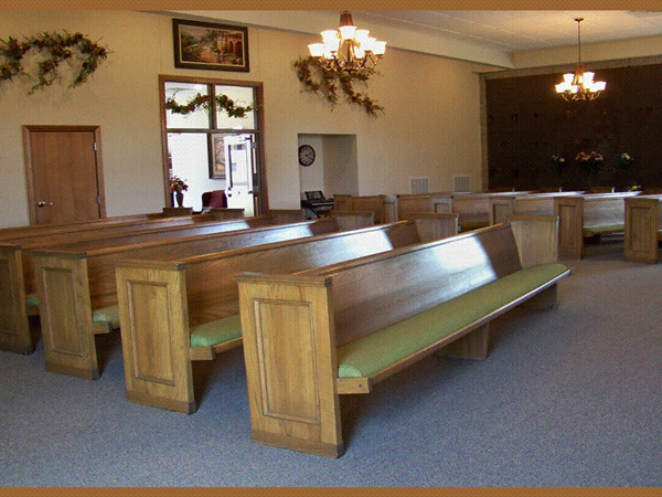 Our spacious chapel is comfortable for visitations and also can accommodate large crowds for services.
