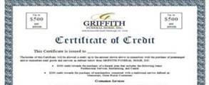 Certificate of Credit