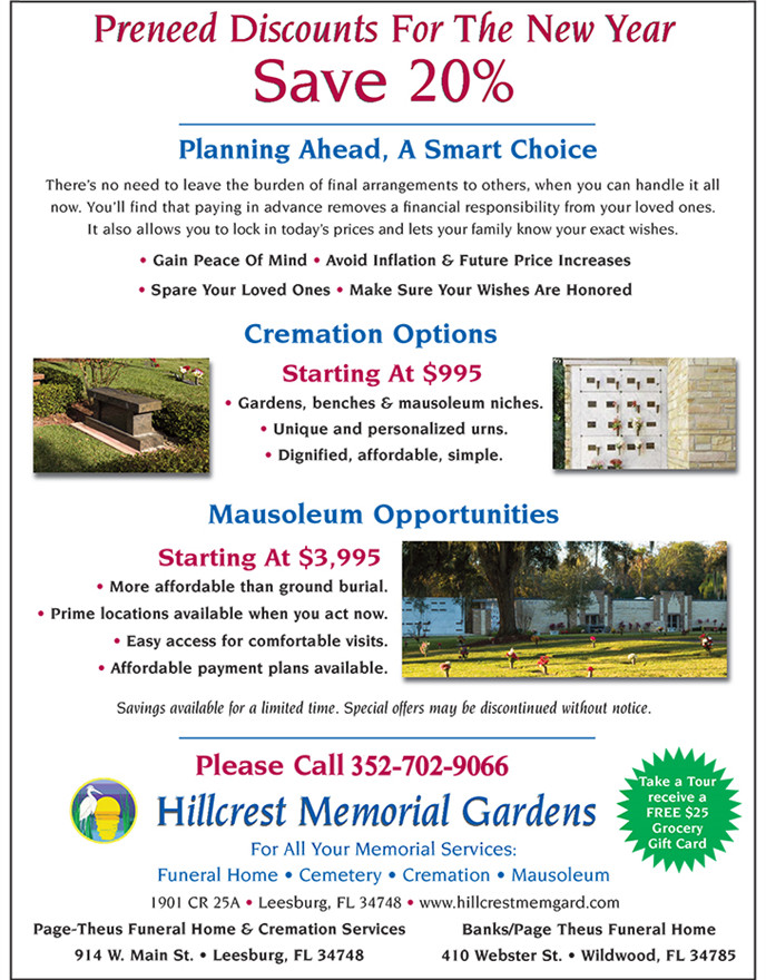 banks page theus hillcrest cremation niche discount january