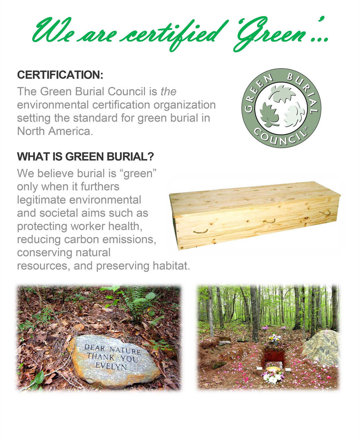 green burial funerals Green (natural) burial the term green burial (aka natural burial) is defined as dignified burial of human remains in a designated green cemetery with no embalming or chemical treatment used.