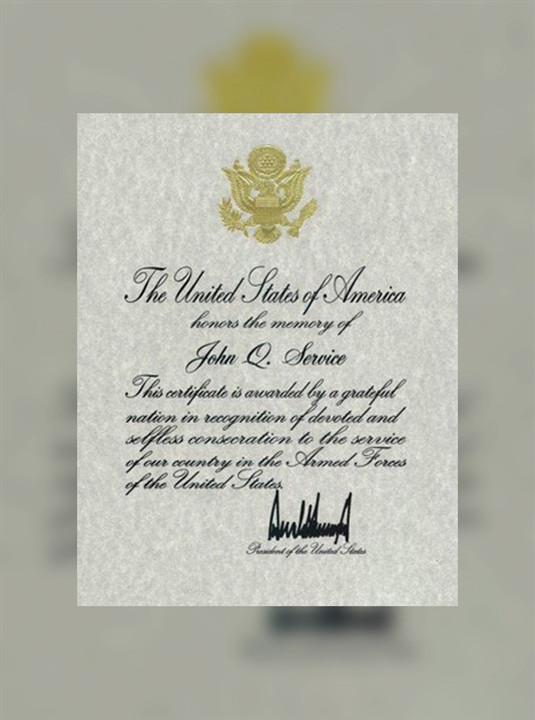 Presidential Memorial Certificates