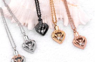 """We Bring You """"High Quality"""" Beautiful Best Memorial Remembrance Keepsake Cremation Urn Pendants For Ashes! Including Angel, Baby, Mom, Dad, Butterfly, Christian, Cylinder, Anchor, Dolphin, Flower, Glass, Heart, Infinity, Moon, Skull, Teardrop, Stainless Steel And Sterling Silver, At Cheap Inexpensive Discount Prices."""